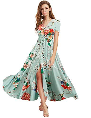 Milumia Women Button Up Floral Print Party Split Flowy Maxi Dress Light Green Large