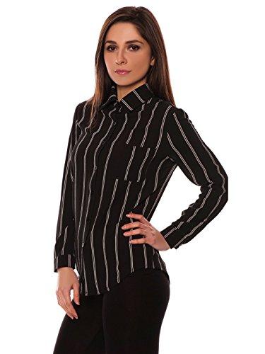 EVE Dames Zwart Crêpe Stijl Lijn Gedessineerd Gekleurde Pocket Detail Lange Mouwen Shirt 8 naar 14