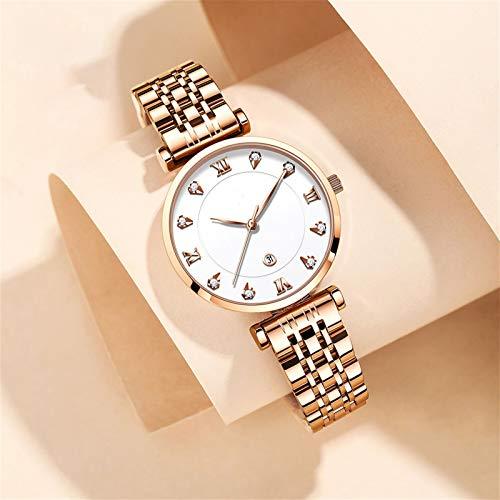 Reloj De La Pulsera De Las Mujeres Reloj De Las Mujeres Del Diamante De La Moda 3.3cm * 1.4cm * 20cm, Tres Dial Redondo De La Aguja Muestra La Fecha, La Caja De Acero Inoxidable Es Resis(Color:blanco)