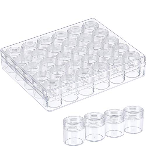 Blulu Clear Plastic Bead Storage Containers Set with 30 Pieces Storage Jars Diamond Painting Accessory Box Transparent Bottles with Lid for DIY Diamond, Nail and Other Small Items (1.15 x 1 Inch)