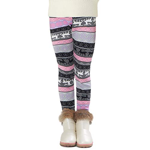 Adorel Meisje Fleece Leggings Warm Winter Patroon Dikke
