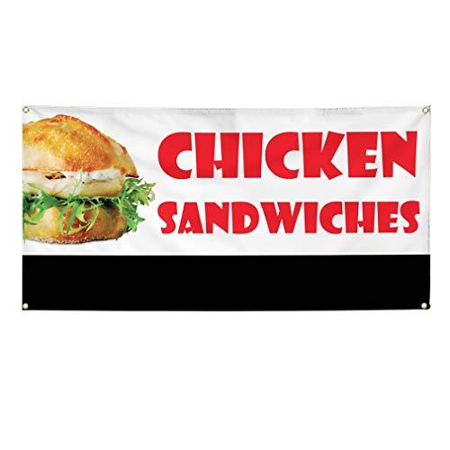 bar sandwiches Vinyl Banner Multiple Sizes Chicken Sandwich Restaurant Cafe Bar E Restaurant & Food Outdoor Weatherproof Industrial Yard Signs White 6 Grommets 36x72Inches