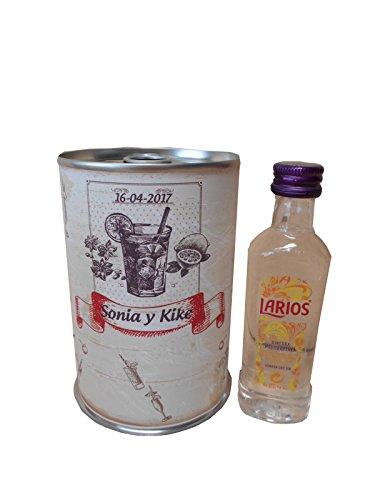 Botellin miniatura Ginebra Larios en lata personalizada - Pack de 6
