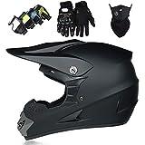 Casco Motocross Niño, Cascos Integrales set Negro mate Negro mate con Guantes/Gafas/Máscara, DTC Certificación, Cascos Cross Moto para BMX Bicicleta Dirt Bike MTB ATV Offroad DH
