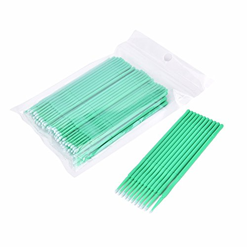 Coobbar 100pcs/lot Durable Micro Disposable Eyelash Extension Mascara Brush Eyelash Glue Cleaning Stick for Women (Green)