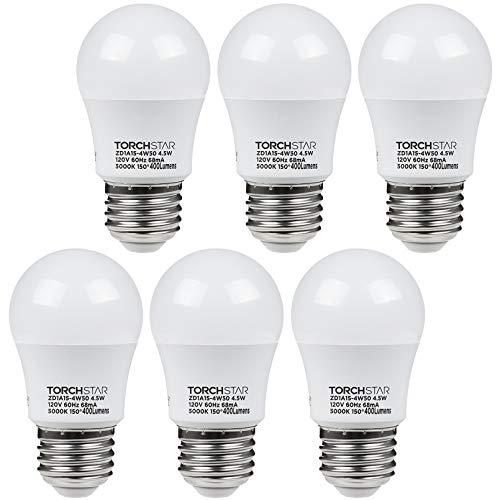 TORCHSTAR 4.5W A15 LED Light Bulb, 40W Equivalent Light Bulb, UL-Listed, E26/E27 Medium Base, 5000K Daylight, for Ceiling Fan, Desk Lamp, Floor Lamp, Pack of 6