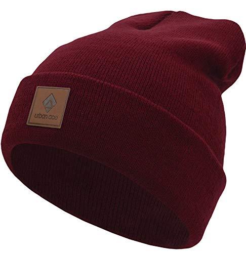 urban ace | Street Classics | Beanie, Mütze, mit Lederpatch | Damen, Herren | für das ganze Jahr, weicher Stoff (Ruby)
