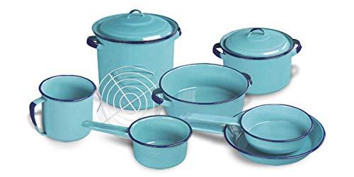 Batería De Cocina Tradicional Peltre 10 Piezas (Versión 2, Azul Turquesa)