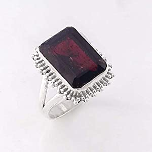 Garnet Handmade Solid 925 Sterling Silver Ring Jewelry