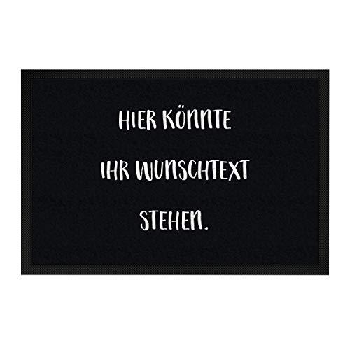 printplanet® - Fußmatte mit eigenem Text Bedrucken - Fussmatte mit Namen oder Wunschtext selbst gestalten - 60 cm x 40 cm - Schwarz