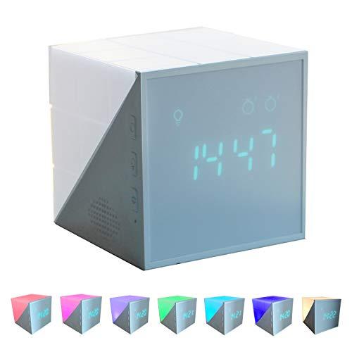 Sveglia Bambini da Comodino, Wake-up Light per Bambini Luce Notturna a LED ad Attivazione Vocale con Ricarica USB, 7 Tipi di Luci Colorate,Conto Alla Rovescia, Snooze 12/24 Ore, Regalo(Blu)