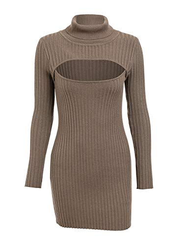 Turtleneck Sweater Dress Ribbed Mini Bodycon Club Dress Khaki