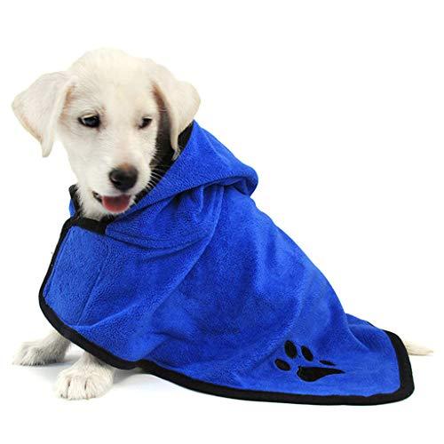 SHUUMEEKAペット用バスローブ 超吸水 ペット マイクロファイバー 犬用ガウン 吸収速乾タオル 犬体拭き用タオル 柔らかい 小中型犬 (L, ブルー)