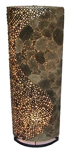 Guru-Shop Lámpara de Pie/lámpara de Pie, Hecha a Mano en Bali de Material Natural, Piedra de Lava, Bambú - Lava yin Yang 100 cm, Rattan, Lámparas de pie de Materiales Naturales