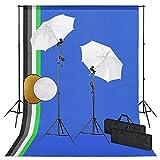 vidaXL Kit Estudio Fotográfico Lámparas Sombrillas Fondo y Reflector Soporte Fondo Sistema Lámparas Luz Iluminación Fácil de Configurar y Usar