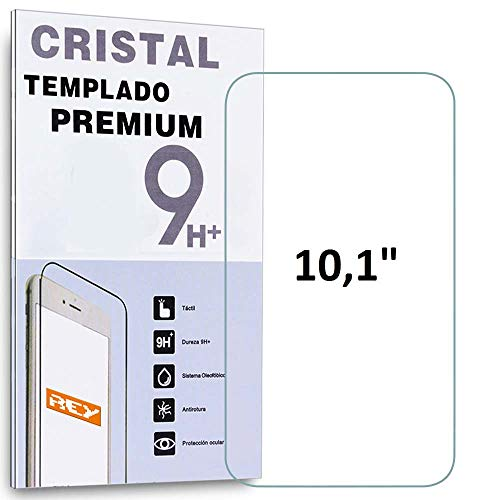 REY Protector de Pantalla para Universal 10.1', Medidas 25,3 x 14,4 cm, Cristal Vidrio Templado Premium