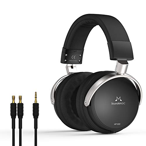 SoundMAGIC HP1000 Auriculares, Juego de Auriculares Plegables para Colocar sobre Las Orejas, Auriculares estéreo Cerrados, Cable de Auriculares enchufable con cancelación de Ruido, Negro