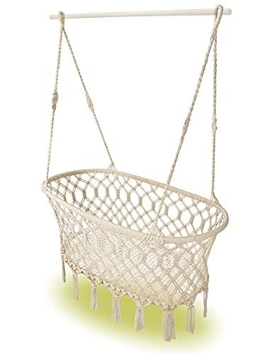 Cuna de plumas para bebé [hecha a mano] – Cuna de bambú y algodón natural – Hamaca para bebé en estilo macramé – Cuna para colgar en estructura o manta – Cuna de bebé para un sueño tranquilo (NATUR)