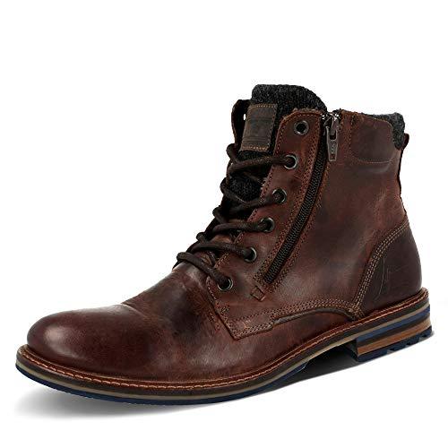 BULLBOXER 791K85479CRBDBSU40 Herren Boots gefettetem Glattleder Textilfutter, Groesse 43, Dunkelbraun