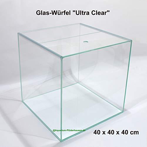 Glas-Aquarium/Terrarium Würfel 40x40x40cm,64L,Ultra Clear Glas+Abdeckung+Unterlage