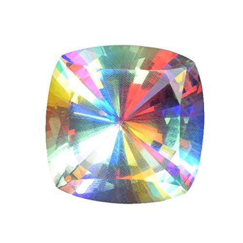 REAL-GEMS Feuer-Mystiker-Topas-Edelstein 51,80 Ct. Translucent Mystic Topaz Cushion Cut Weißer Mystic Topaz Loose Stone für Schmuck