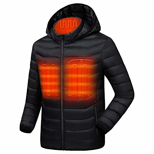 Venustas [2021 Upgrade] Heated Jacket with Battery Pack 5V (Unisex), Heated Coat for Women and Men with Detachable Hood Black