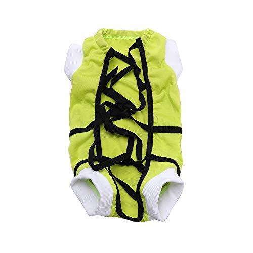 NashaFeiLi Haustierkleidung, Hunde-Stillanzug, Schutzkleid nach Operationen, für Welpen und kleine Hunde, Größe L, Grün