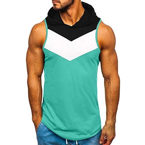 Geilisungren Herren Tanktop Tank Tops Farbblock Patchwork Tankshirt Ärmellos T-Shirt mit Kapuze Sommer Weste Muskelshirt Fitness Bodybuilding Bluse Hoodie für Männer
