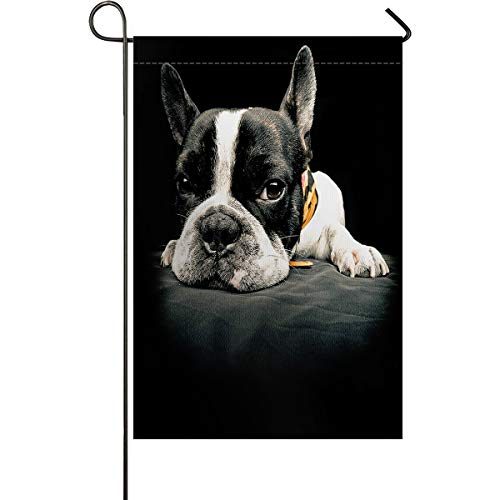 Bulldog Garden Flags House Banner Decorative Flags Home Outdoor Valentine, Cute Lying French Bulldog Black and White Funny Decor, Welcome Holiday Yard Flags, Double Sides 12 x 18inch