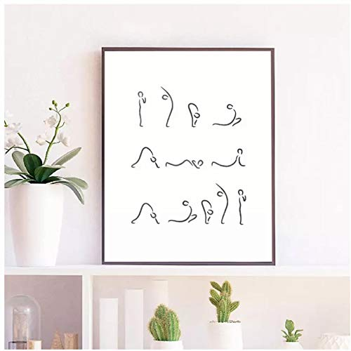Decoración Impresión Pintura Imagen Modular Yoga Saludo Postura Arte de la Pared Pintura en Lienzo Yoga Meditación Gimnasio Póster Decoración para el hogar-50x75cm Sin Marco