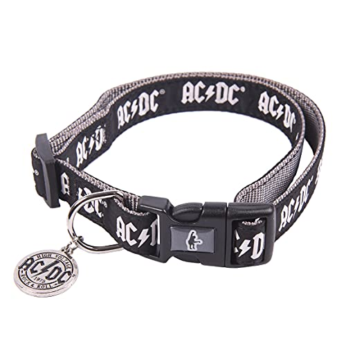 CERDÁ LIFE'S LITTLE MOMENTS Collar Perro Rockero de ACDC - Licencia Oficial Disney, Negro