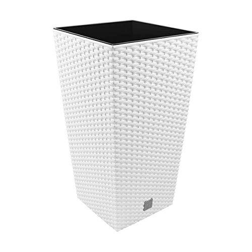 Prosperplast Rato Square Blumentopf, hoch, quadratisch, 19 l, Kunststoff, mit Behälter in Weiß, 45 (H) x 24 (B) x 24 (T) cm