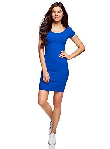 oodji Collection Mujer Vestido Ajustado con Escote Pronunciado en la Espalda, Azul, ES 34 / XXS