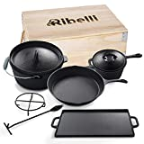 Ribelli BBQ set da forno olandese da 7 pezzi in una scatola di legno, ghisa, pretrattato, ...