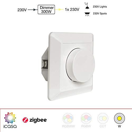 icasa Drehdimmer, 1 Kanal 230V, max. 300W/600W, Kompatibel mit Zigbee 3.0 Gateway