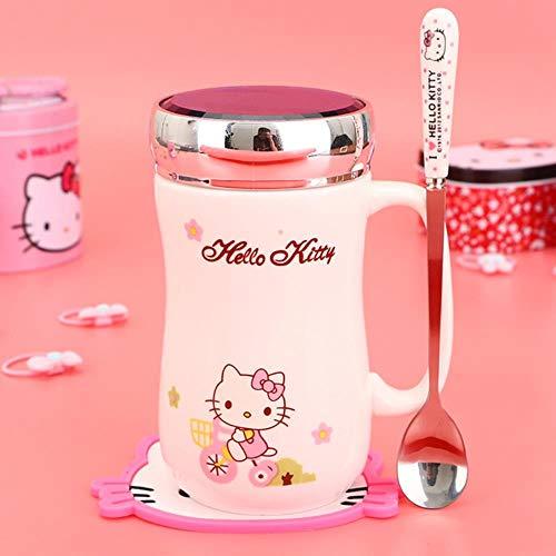 Lasisz Ceramic Cartoon Koffiemok Cartoon Thee melk Copo met deksel Mok met grote inhoud Drinkbeker met lepel 400 ml, zie tabel