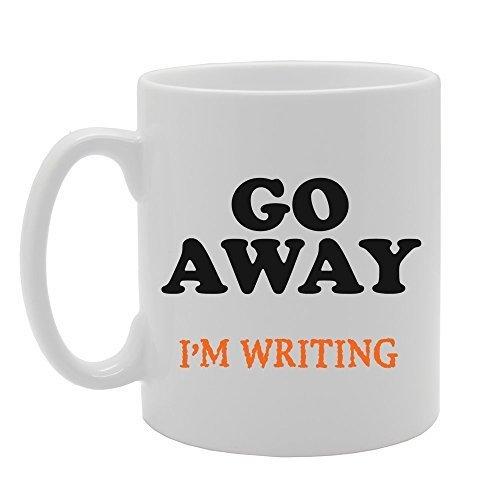 NA Go Away I 'm escribiendo Tazas de café Taza de Oficina Divertida para Mujer Regalos Taza de cerámica Blanca clásica Taza 11 oz