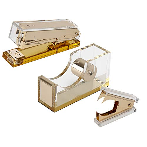EXPUTRAN Acrylic & Gold Office Supplies Set, Acrylic Stapler, Tape Dispenser, Staple Remover, Desk Accessory for The Office or Home
