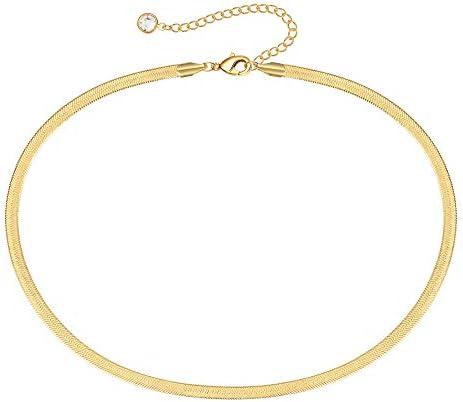 MONOOC Herringbone Necklace Snake Chain Choker Necklaces for Women 4Mm Gold Choker Necklaces product image
