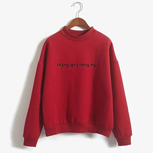 ZCMWY Frauen Sweatshirt Frauen Herbst Brief Langarm Splice Pullover mit Kapuze Sweatshirt Kurze Tops Einfarbig XL Rot