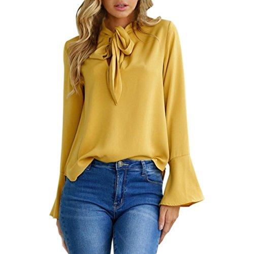 Hirolan_Frau Flare Hülse V-Ausschnitt Bluse Beiläufig Tops (Gelb, XL)