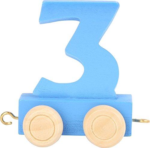 Buchstabenzug | Geburtstags Zahlen und Waggon mit Kerzenhalter | Holzeisenbahn | EbyReo® Namenszug aus Holz | personalisierbar | Geburtstag oder als Deko für den Geburtstagstisch (03 Zahl 3)