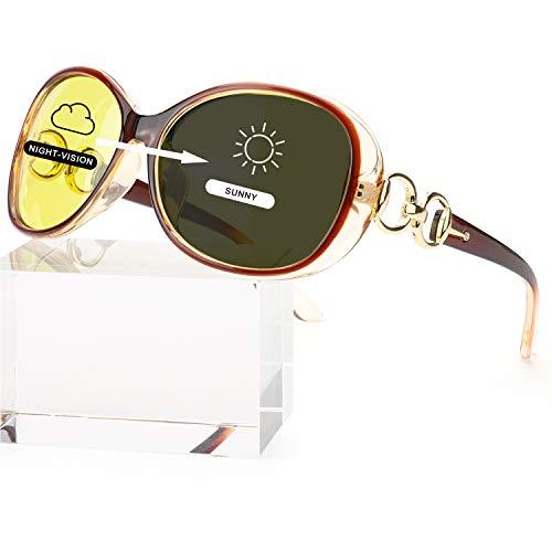 FIMILU Women Übergroße Nachtsichtbrille Blendfreie polarisierte Nachtsichtbrille für Autofahren/Nebel/Regen (Braun/Photochromatisch Polarisierte Sonnenbrille)