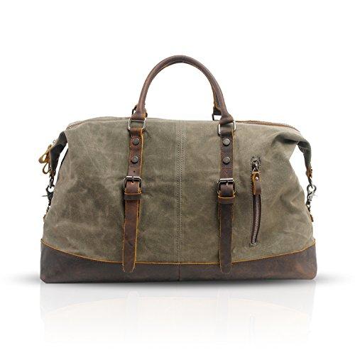 FANDARE Retro Borsa Tote da Viaggio Uomo/Donna Oversized Handbag Party Outdoor Borsa a Tracolla Impermeabile Tela Verde