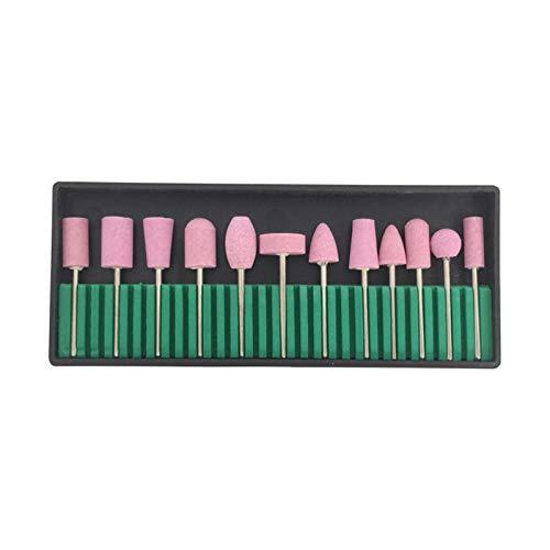 Anself 12 Uds Brocas para Uñas Limpiador de Cutículas Brocha para Polvo Brocas de cerámica brocas para pulir lima de pulido cabezales de pulido