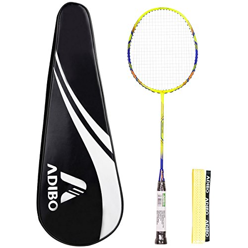 ADIBO Badminton Racquet, Single Full Carbon Shaft Badminton Racket with a...