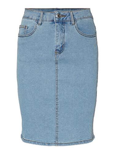 VERO MODA Damen VMHOT Nine HW DNM Pencil Skirt Color Rock, Light Blue Denim, XS
