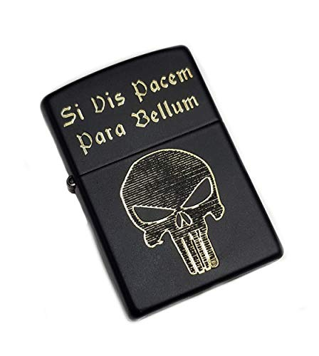 Real Bullet Design Accendino Zippo Si Vis Pacem para Bellum & Punisher Navy Seal Chris Kyle Gold