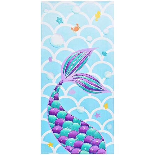 Teli Mare a Sirena - 70 x 147 cm Asciugamani per bambini 100% Cotone Morbido Assorbente Teli bagno Telo da Spiaggia Viaggio Nuoto Piscina Picnic Asciugamano da spiaggia