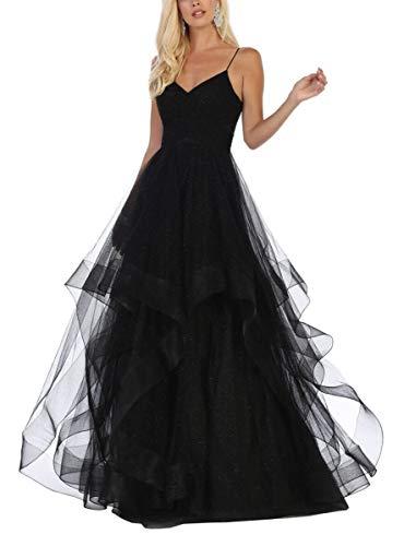 V Neck Long Prom Dresses for Teens Ball Gown Spaghetti Glitter Tulle Puffy Princess Wedding Dress